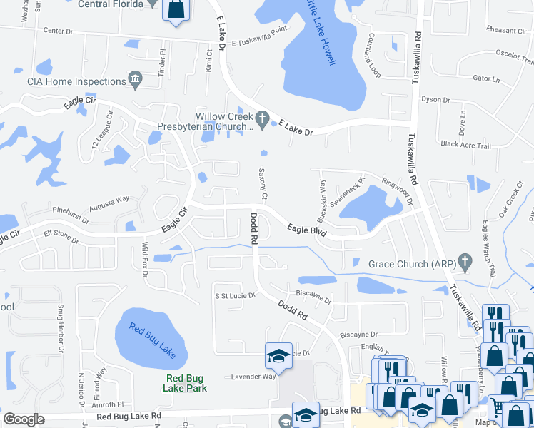 map of restaurants, bars, coffee shops, grocery stores, and more near Eagle Boulevard in Winter Springs
