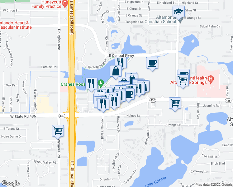 map of restaurants, bars, coffee shops, grocery stores, and more near Festival Drive in Altamonte Springs
