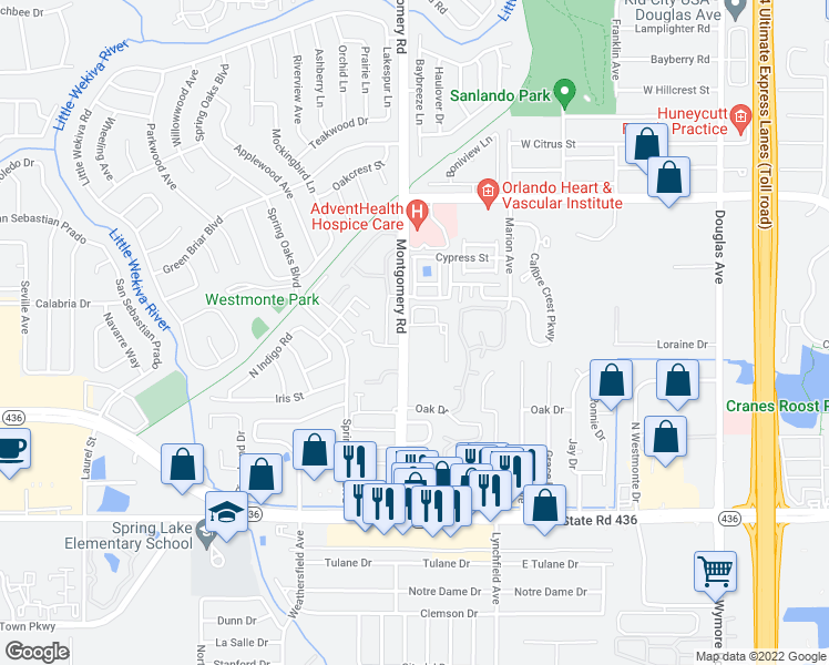 map of restaurants, bars, coffee shops, grocery stores, and more near 421 Montgomery Road in Altamonte Springs