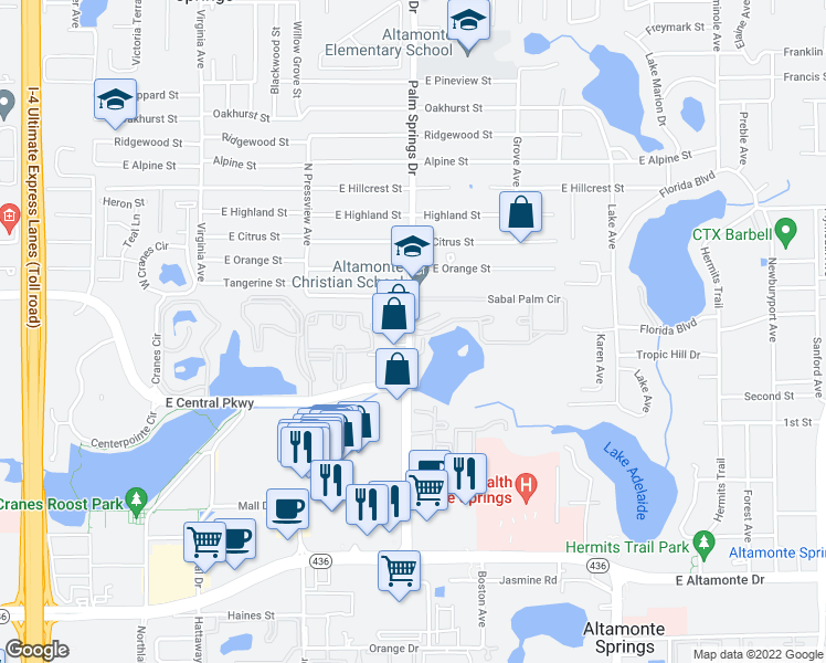 map of restaurants, bars, coffee shops, grocery stores, and more near 698 Sabal Palm Circle in Altamonte Springs