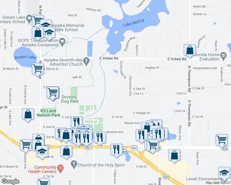 map of restaurants, bars, coffee shops, grocery stores, and more near 132 North Cervidae Drive in Apopka