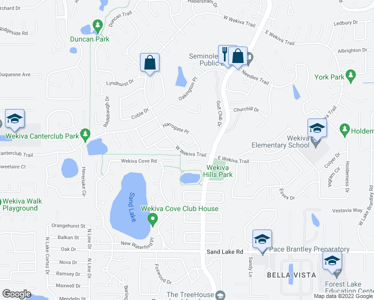 map of restaurants, bars, coffee shops, grocery stores, and more near 1230-1298 West Wekiva Trail in Wekiva Springs