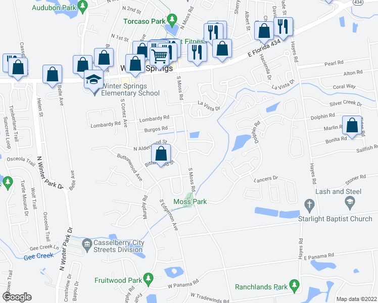 map of restaurants, bars, coffee shops, grocery stores, and more near 211-215 S Moss Rd in Winter Springs
