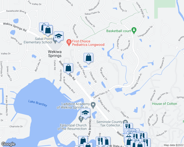 map of restaurants, bars, coffee shops, grocery stores, and more near 5210 Clubside Drive in Longwood