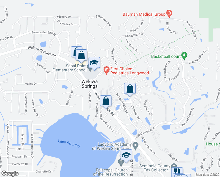 map of restaurants, bars, coffee shops, grocery stores, and more near 347-399 Sabal Park Place in Wekiva Springs