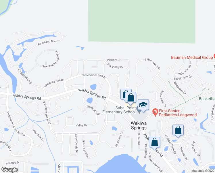 map of restaurants, bars, coffee shops, grocery stores, and more near 120-172 Sweetwater Blvd N in Wekiva Springs