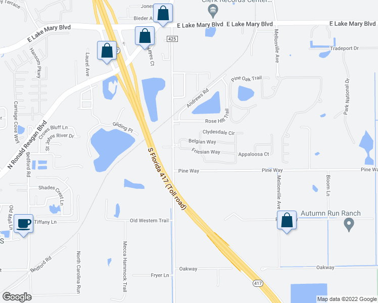 map of restaurants, bars, coffee shops, grocery stores, and more near 202 Clydesdale Circle in Sanford