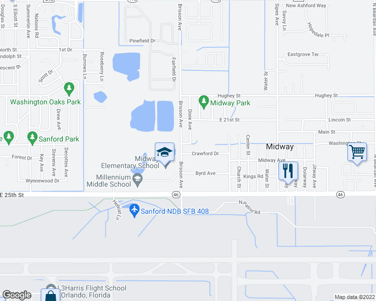 map of restaurants, bars, coffee shops, grocery stores, and more near 2441 Crawford Drive in Sanford