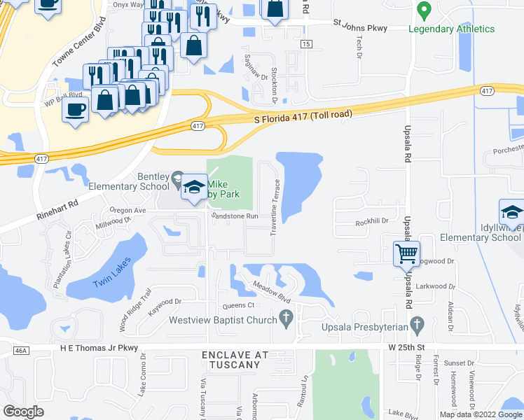 map of restaurants, bars, coffee shops, grocery stores, and more near 1767 Travertine Terrace in Sanford