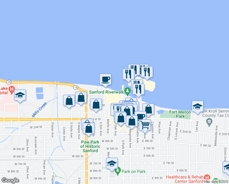 map of restaurants, bars, coffee shops, grocery stores, and more near 110 West Seminole Boulevard in Sanford