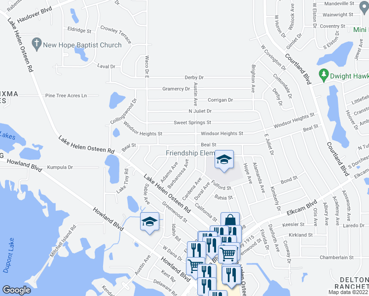 map of restaurants, bars, coffee shops, grocery stores, and more near 2680 Beal Street in Deltona