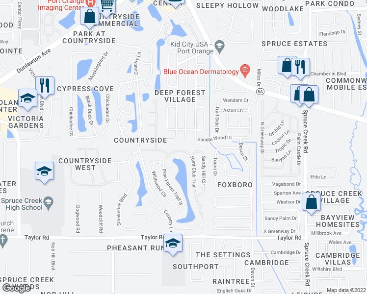 map of restaurants, bars, coffee shops, grocery stores, and more near 771-775 Hunt Club Trail in Port Orange