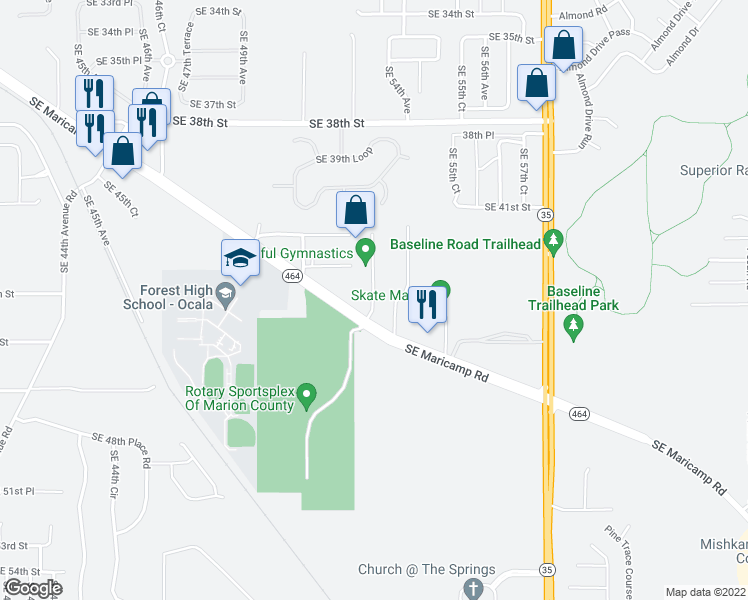 map of restaurants, bars, coffee shops, grocery stores, and more near 4441 Southeast 53rd Avenue in Ocala
