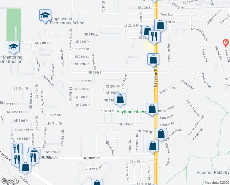map of restaurants, bars, coffee shops, grocery stores, and more near 5460 SE 29th Pl in Ocala