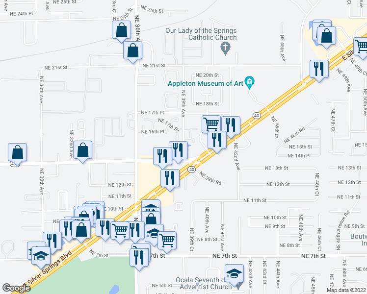map of restaurants, bars, coffee shops, grocery stores, and more near 1500-1698 NE 39th Ave in Ocala