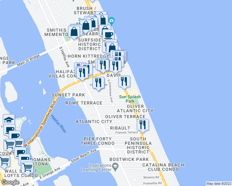 map of restaurants, bars, coffee shops, grocery stores, and more near 508 Braddock Avenue in Daytona Beach