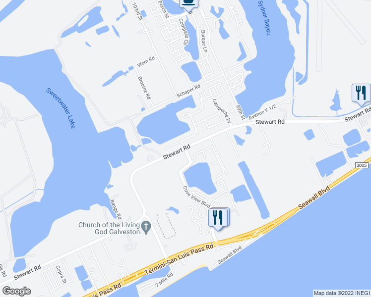 map of restaurants, bars, coffee shops, grocery stores, and more near 21 Quintana Drive in Galveston
