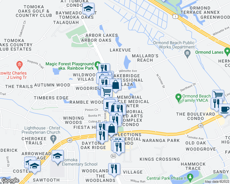 map of restaurants, bars, coffee shops, grocery stores, and more near N Nova Rd & Shadow Lakes Blvd in Ormond Beach