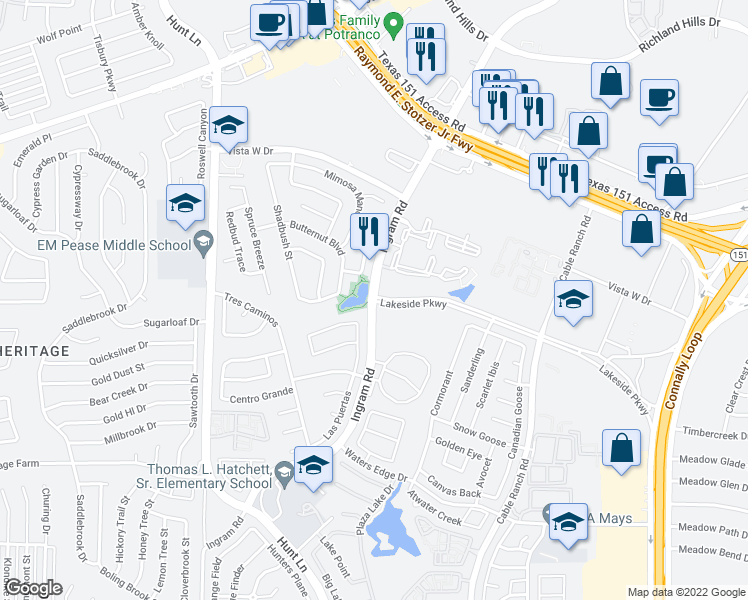 map of restaurants, bars, coffee shops, grocery stores, and more near 410 Butternut Blvd in San Antonio