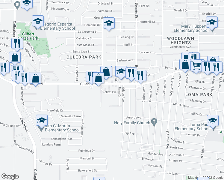 map of restaurants, bars, coffee shops, grocery stores, and more near 127 Tellez Ave in San Antonio