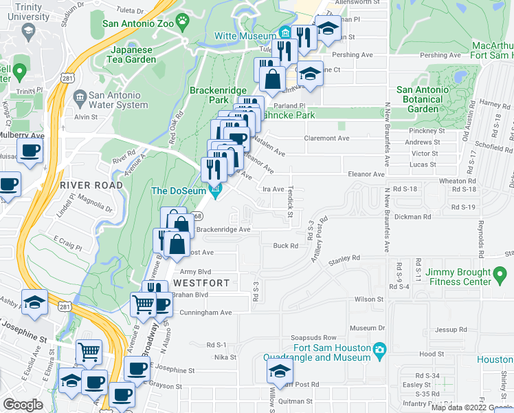 map of restaurants, bars, coffee shops, grocery stores, and more near 1202 East Mulberr