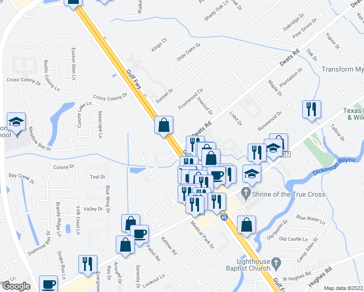 map of restaurants, bars, coffee shops, grocery stores, and more near 3033 Gulf Freeway in Dickinson