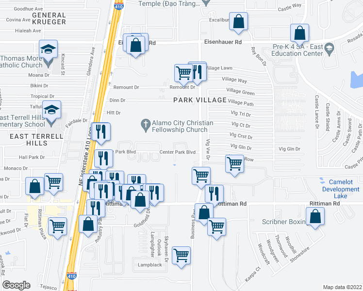 map of restaurants, bars, coffee shops, grocery stores, and more near 4913 Center Park Boulevard in San Antonio