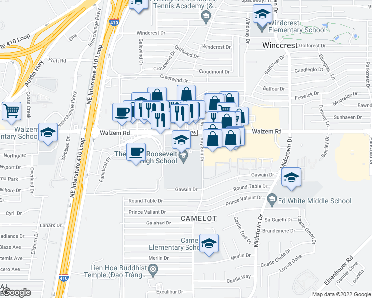 map of restaurants, bars, coffee shops, grocery stores, and more near 5110 Walzem Road in San Antonio