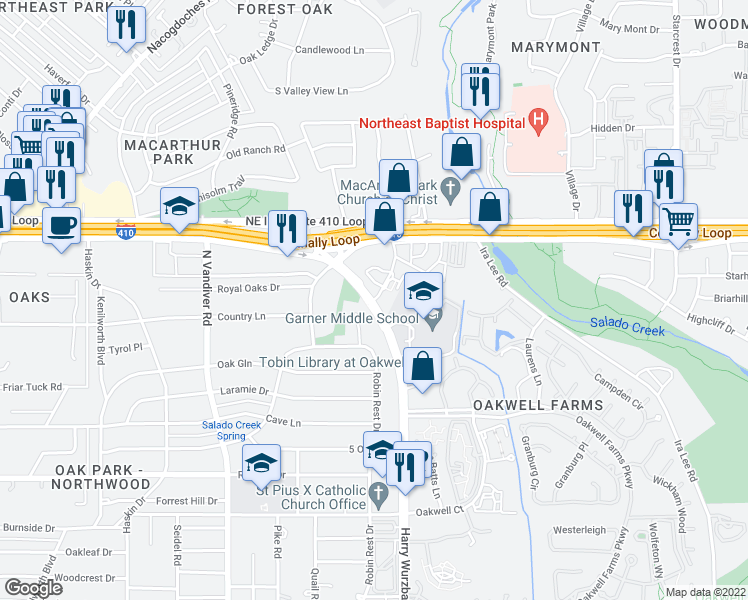 map of restaurants, bars, coffee shops, grocery stores, and more near 4400-4430 Harry Wurzbach Road in San Antonio