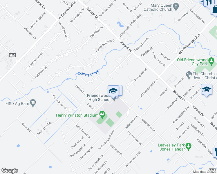 map of restaurants, bars, coffee shops, grocery stores, and more near 705 Greenbriar Ave in Friendswood