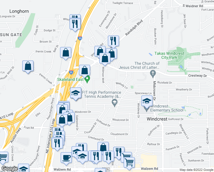 map of restaurants, bars, coffee shops, grocery stores, and more near 8900-8902 Willmon Way in Windcrest