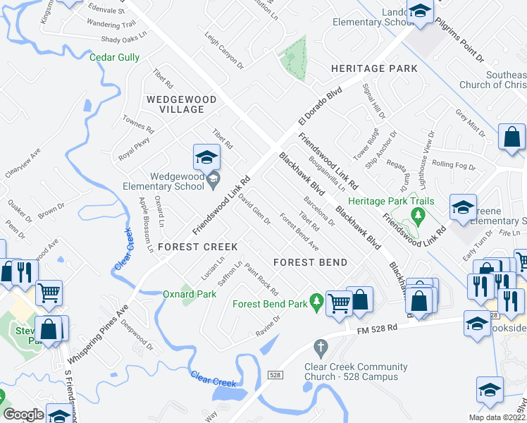 map of restaurants, bars, coffee shops, grocery stores, and more near 16646 Forest Bend Avenue in Friendswood