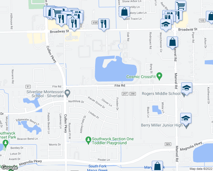 map of restaurants, bars, coffee shops, grocery stores, and more near 4827 Meadowglen Drive in Pearland