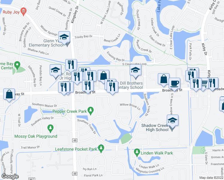 map of restaurants, bars, coffee shops, grocery stores, and more near 12302 Shady Brook Dr in Pearland