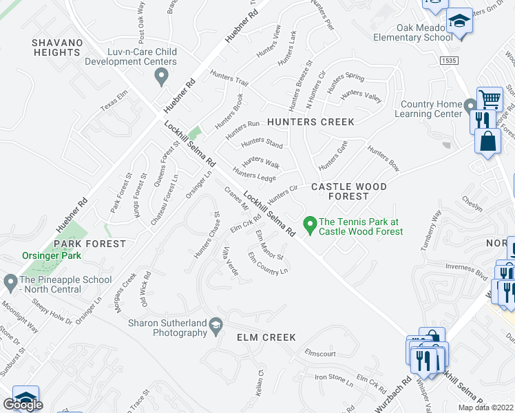 map of restaurants, bars, coffee shops, grocery stores, and more near 3801-3837 Lockhill Selma Road in San Ant