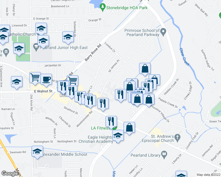 map of restaurants, bars, coffee shops, grocery stores, and more near 2974-2998 Whispering Winds Drive in Pearland