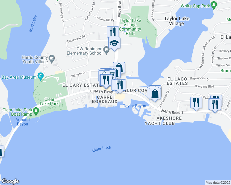 map of restaurants, bars, coffee shops, grocery stores, and more near 4457 NASA Road 1 in Seabrook