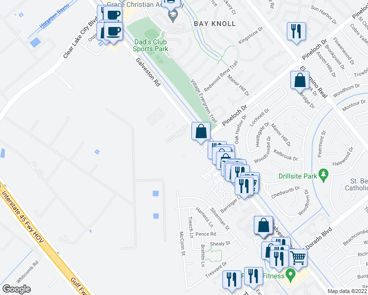 map of restaurants, bars, coffee shops, grocery stores, and more near 601-629 Pineloch Dr in Webster