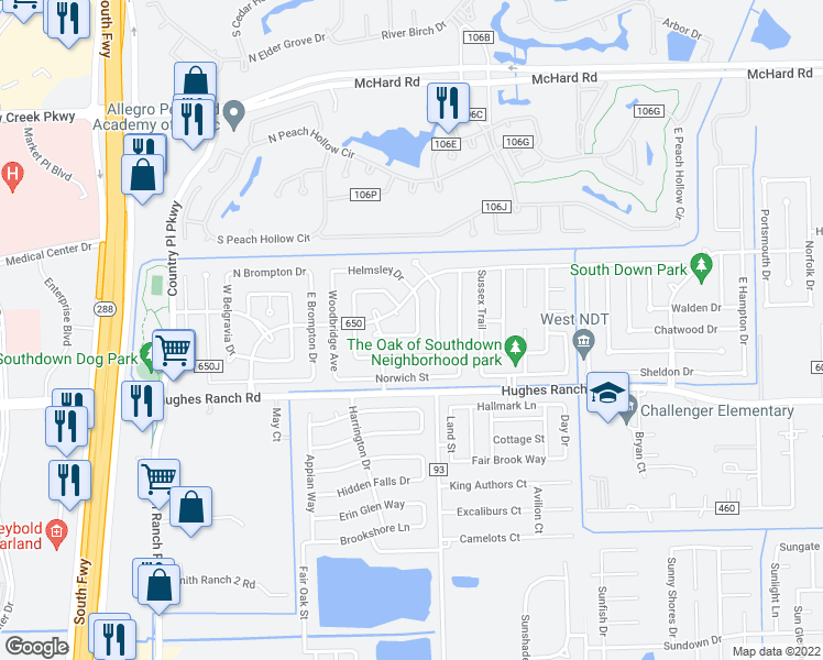 map of restaurants, bars, coffee shops, grocery stores, and more near 3046 County Road 650Q in Pearland