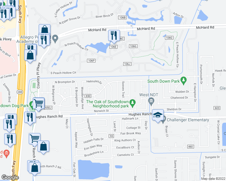 map of restaurants, bars, coffee shops, grocery stores, and more near 1018 Oxford Dr in Pearland
