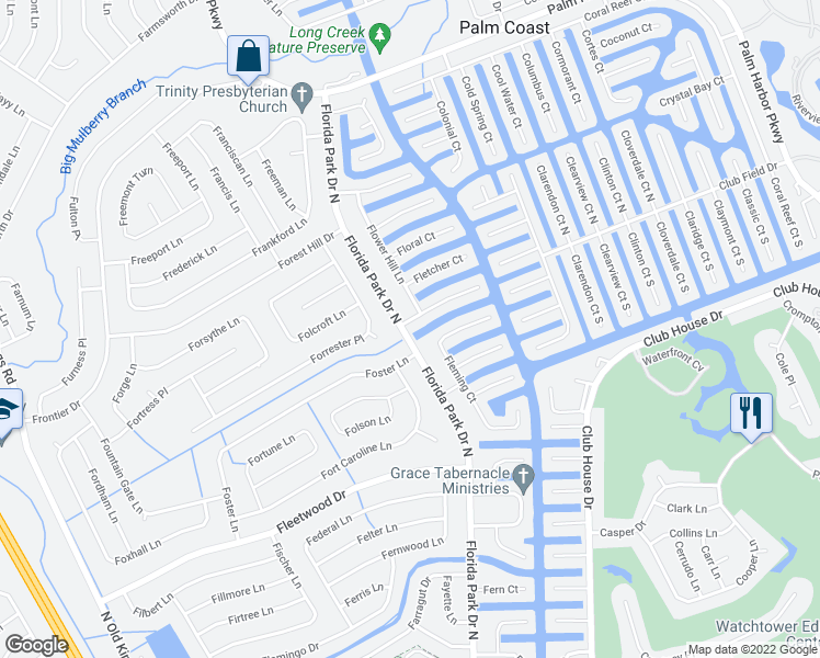 map of restaurants, bars, coffee shops, grocery stores, and more near 101 Florida Park Drive North in Palm Coast