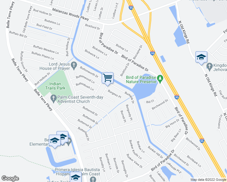 map of restaurants, bars, coffee shops, grocery stores, and more near 37-39 Burbank Dr in Palm Coast