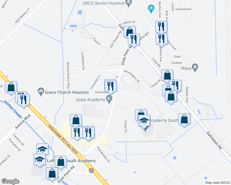 map of restaurants, bars, coffee shops, grocery stores, and more near 506-598 Dixie Farm Road in Houston