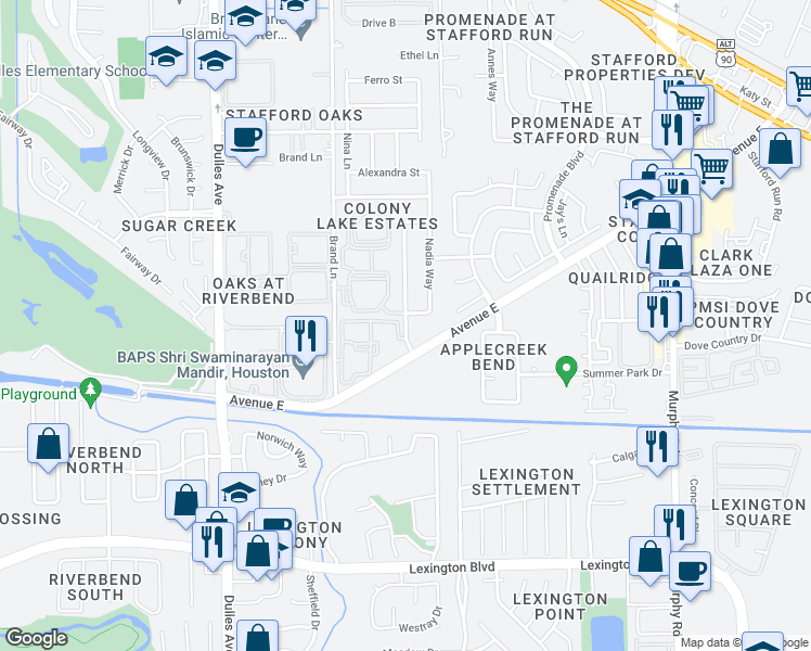 map of restaurants, bars, coffee shops, grocery stores, and more near Farrah Ln in Stafford