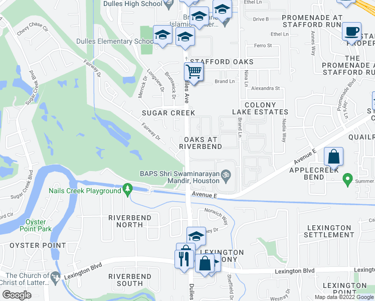 map of restaurants, bars, coffee shops, grocery stores, and more near 19 River Creek Way in Sugar Land