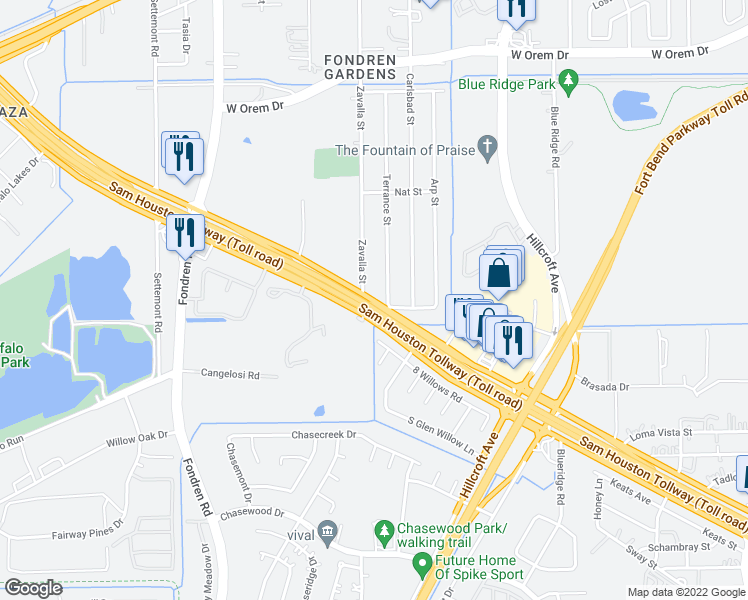 map of restaurants, bars, coffee shops, grocery stores, and more near 7851 South Sam Houston Parkway West in Houston