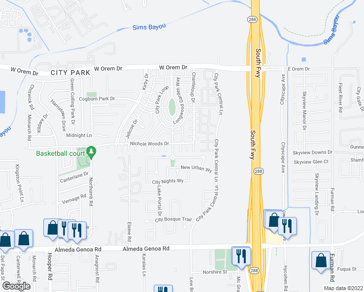 map of restaurants, bars, coffee shops, grocery stores, and more near 1575 Nichole Woods Drive in Houston