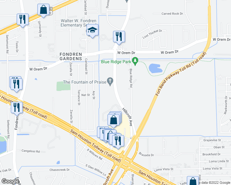 map of restaurants, bars, coffee shops, grocery stores, and more near 13950 Hillcroft Avenue in Houston