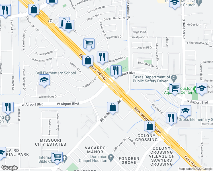 map of restaurants, bars, coffee shops, grocery stores, and more near West Airport Boulevard in Houston