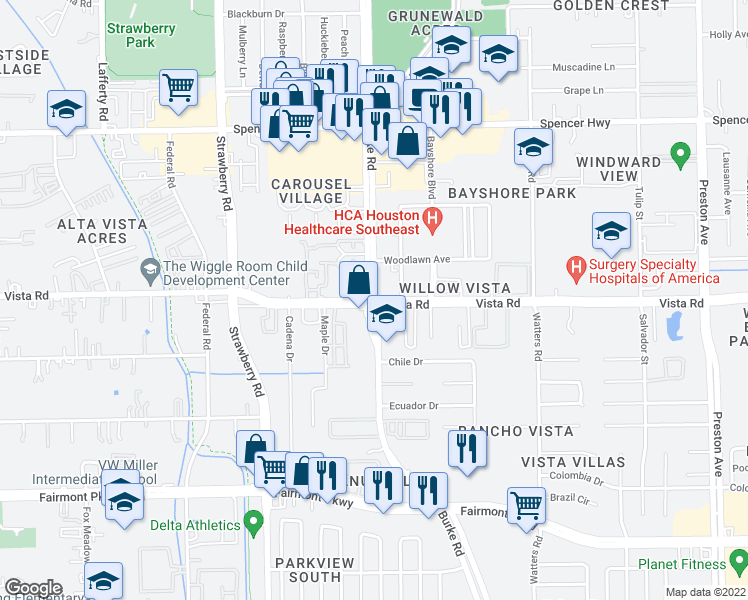 map of restaurants, bars, coffee shops, grocery stores, and more near Burke Rd & Vista Rd in Pasadena